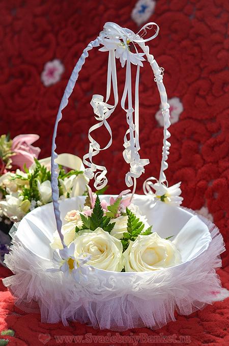Как украсить свадебную корзину
